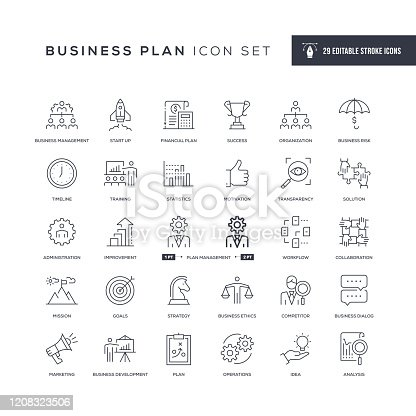 29 Business Plan Icons - Editable Stroke - Easy to edit and customize - You can easily customize the stroke width