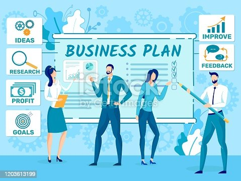 Business Plan for New Company, Startup Success Strategy Planning Flat Vector Concept. Business Leaders, Financial Experts, Entrepreneurs Team Searching, Discussing Ideas, Doing Research Illustration