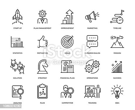 Business Plan Icon Set - Thin Line Series