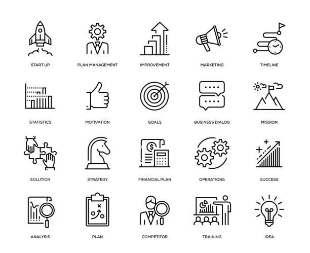 ilustrações, clipart, desenhos animados e ícones de plano de negócios conjunto de ícones - startup