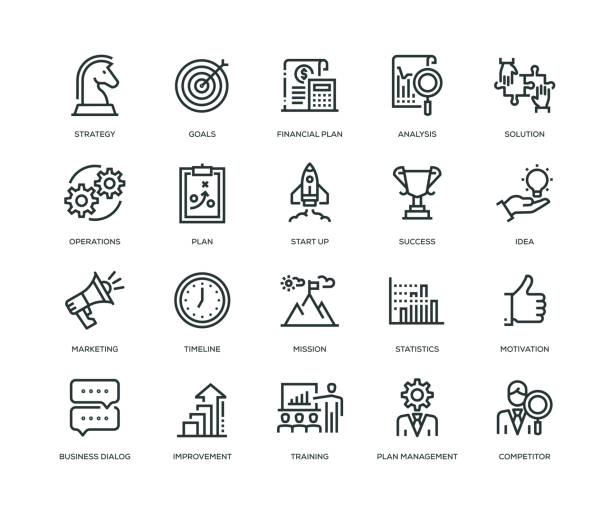 Business Plan Icons - Line Series vector art illustration