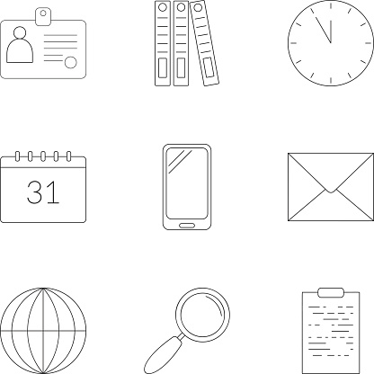 Business plan icons set, outline style