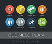 Business Plan chart with keywords and icons. Flat design with long shadows