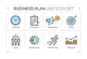 Business Plan chart with keywords and line icons