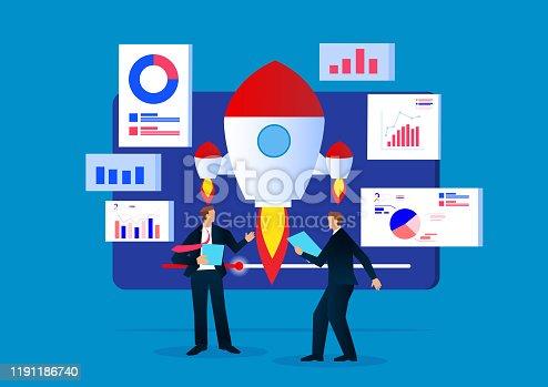 istock Business plan launch data analysis progress 1191186740