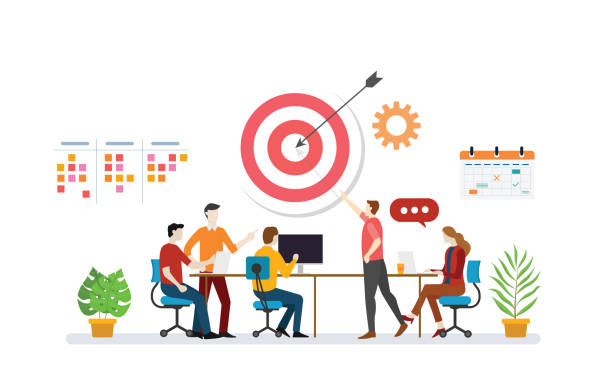 businessplan-ziel mit teamdiskussion, um zielziele zu erreichen, mit listenaufgaben und kalendersymbol - vektor - geschäftsstrategie stock-grafiken, -clipart, -cartoons und -symbole