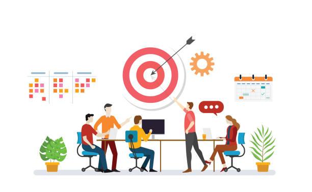 業務計畫目標與團隊討論,以實現目標目標,並做清單任務和日曆圖示 - 向量 - 商業策略 幅插畫檔、美工圖案、卡通及圖標