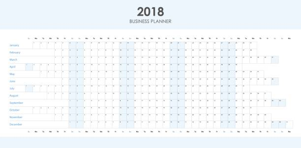 business planner 2018 - kalendervorlage stock-grafiken, -clipart, -cartoons und -symbole