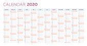 Planner calendar template, 2020 business planner in vertical rows