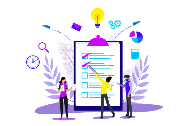 Business Planning and Strategy Landing in Checklist for Web Page or Website Business Planning and Strategy Landing in Checklist for Web Page or Website business drawings stock illustrations
