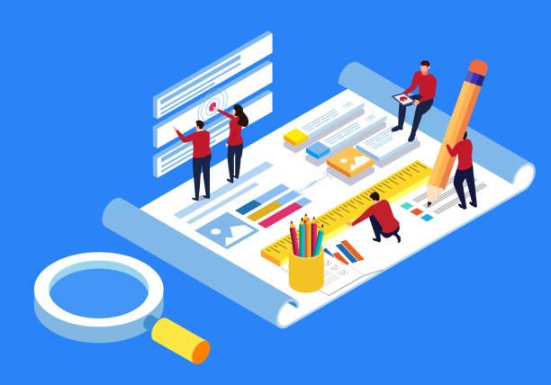Business planning blueprint vector art illustration