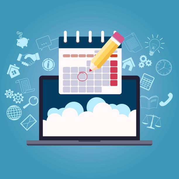 business planning calendar vector art illustration