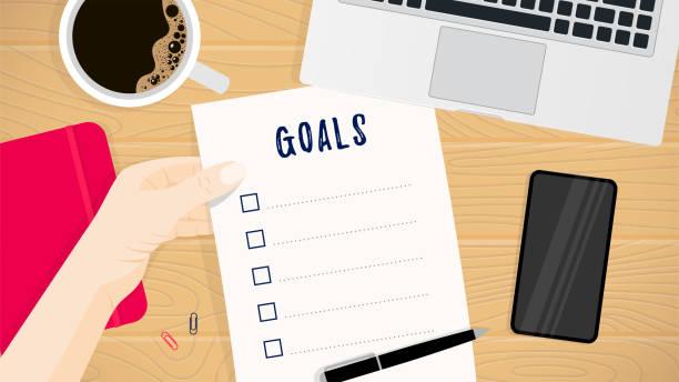 illustrazioni stock, clip art, cartoni animati e icone di tendenza di business planning concept goals - to do list