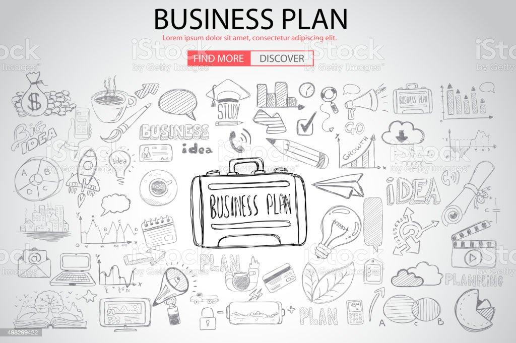 事業計画、落書きデザインスタイルのコンセプト ベクターアートイラスト
