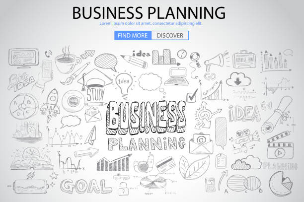 Business Planning  concept with Doodle design style vector art illustration