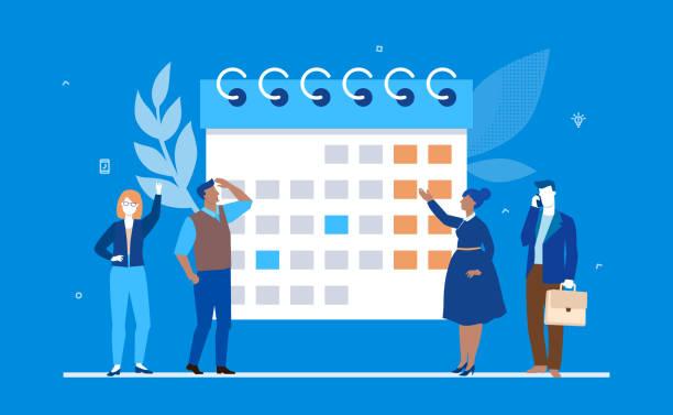 ilustraciones, imágenes clip art, dibujos animados e iconos de stock de planificación empresarial - planos diseño ilustración colorida de estilo - tareas domésticas