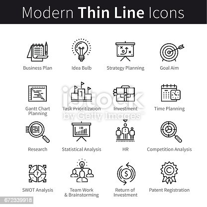 Business planning concept. Goal setting, prioritisation, time management, statistics and human resources. Modern thin line art icons. Linear style illustrations isolated on white.