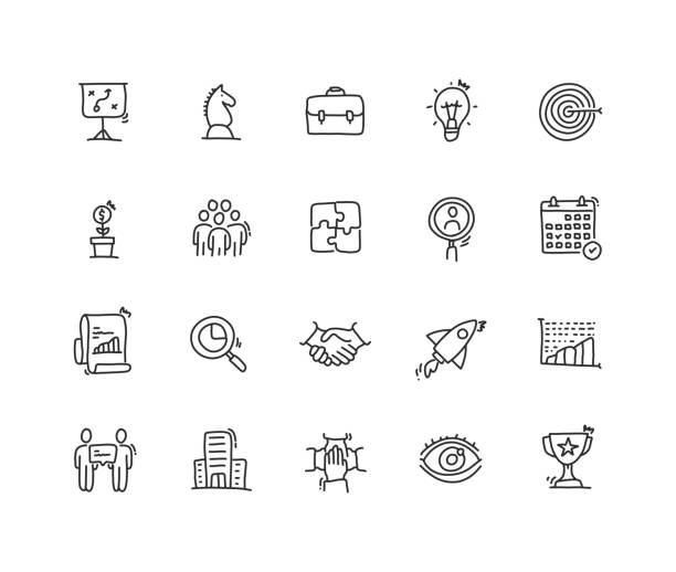 Business Planning Icon set Business Planning Icon set business drawings stock illustrations