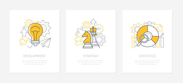 Business planning - line design style icons set vector art illustration