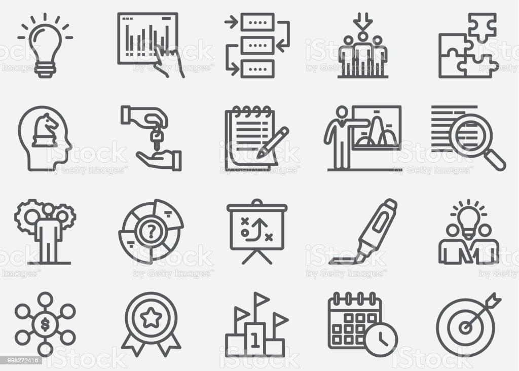 Business Planning Line Icons vector art illustration