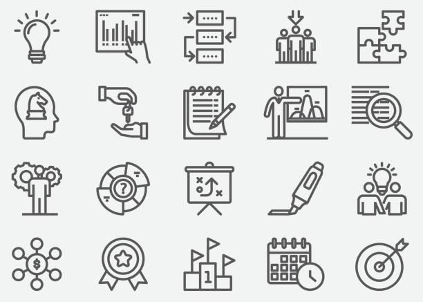 ilustrações, clipart, desenhos animados e ícones de ícones de linha de planejamento de negócios - afazeres domésticos