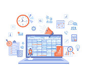 Business planning, management, organization, success strategy. Laptop with schedule on the screen, checklist, infographic elements. Vector illustration on white background.