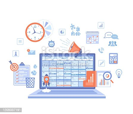 istock Business planning, management, organization, success strategy. Laptop with schedule on the screen, checklist, infographic elements. Vector illustration on white background. 1205037191
