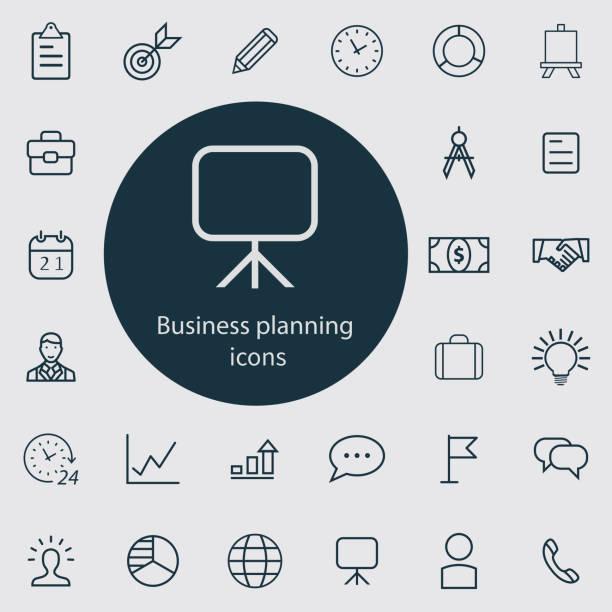 ilustrações, clipart, desenhos animados e ícones de esboço do planeamento de negócio, jogo fino, liso, digital do ícone - equipe esportiva