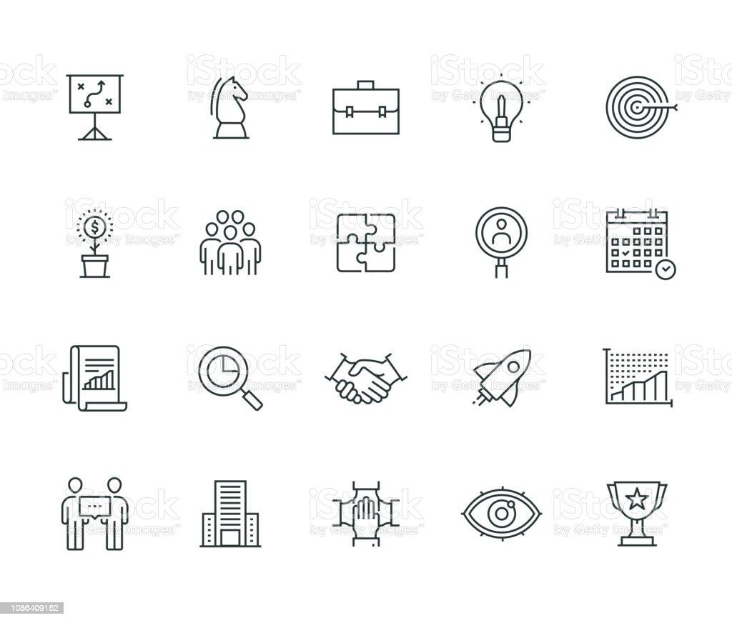 Serie delgada línea planificación de empresas - ilustración de arte vectorial