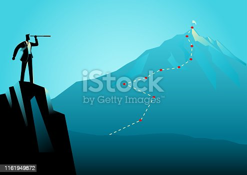 Business concept illustration of a businessman on top of the rock using telescope looking to the top of a mountain. Strategy, planning, forecast in business concept