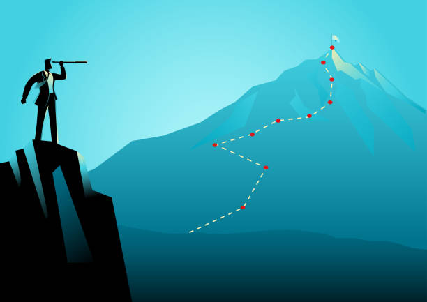 Business Planning Business concept illustration of a businessman on top of the rock using telescope looking to the top of a mountain. Strategy, planning, forecast in business concept the way forward stock illustrations