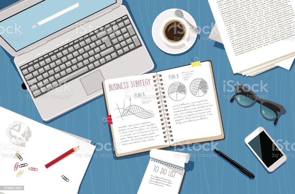 Business planning vector art illustration