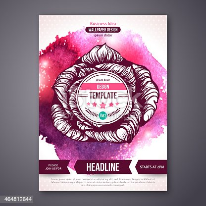 181894581 istock photo Business Poster or Flyer Template with watercolor paint background. 464812644