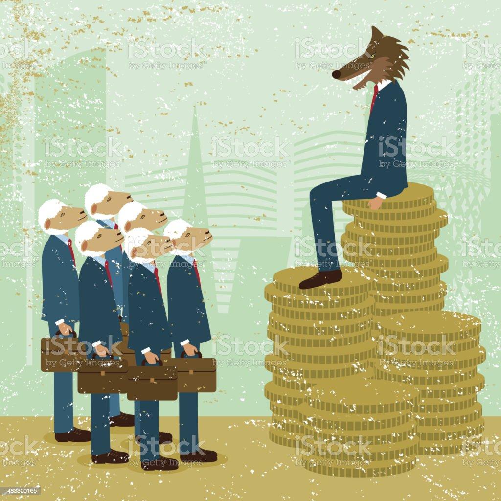 Business poverty wealth success finance economy animal man money inequality vector art illustration