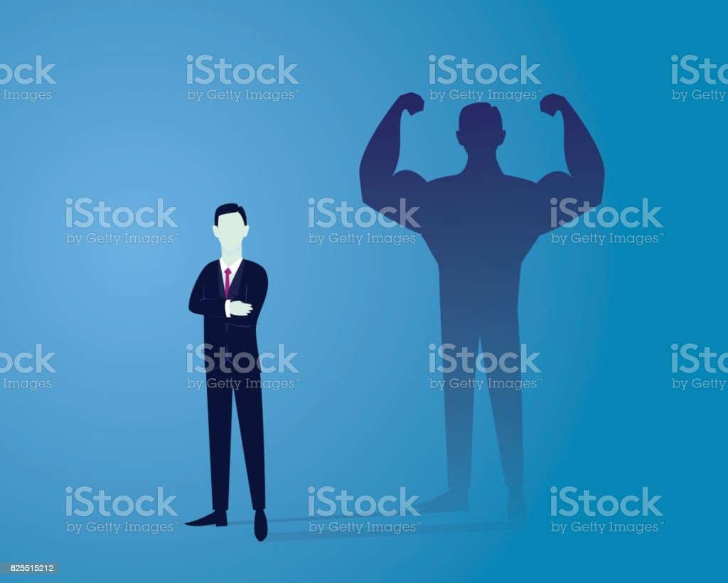 Business Power Concept. Strong Businessman vector art illustration