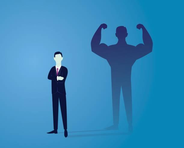 ilustrações de stock, clip art, desenhos animados e ícones de business power concept. strong businessman - portrait of confident business