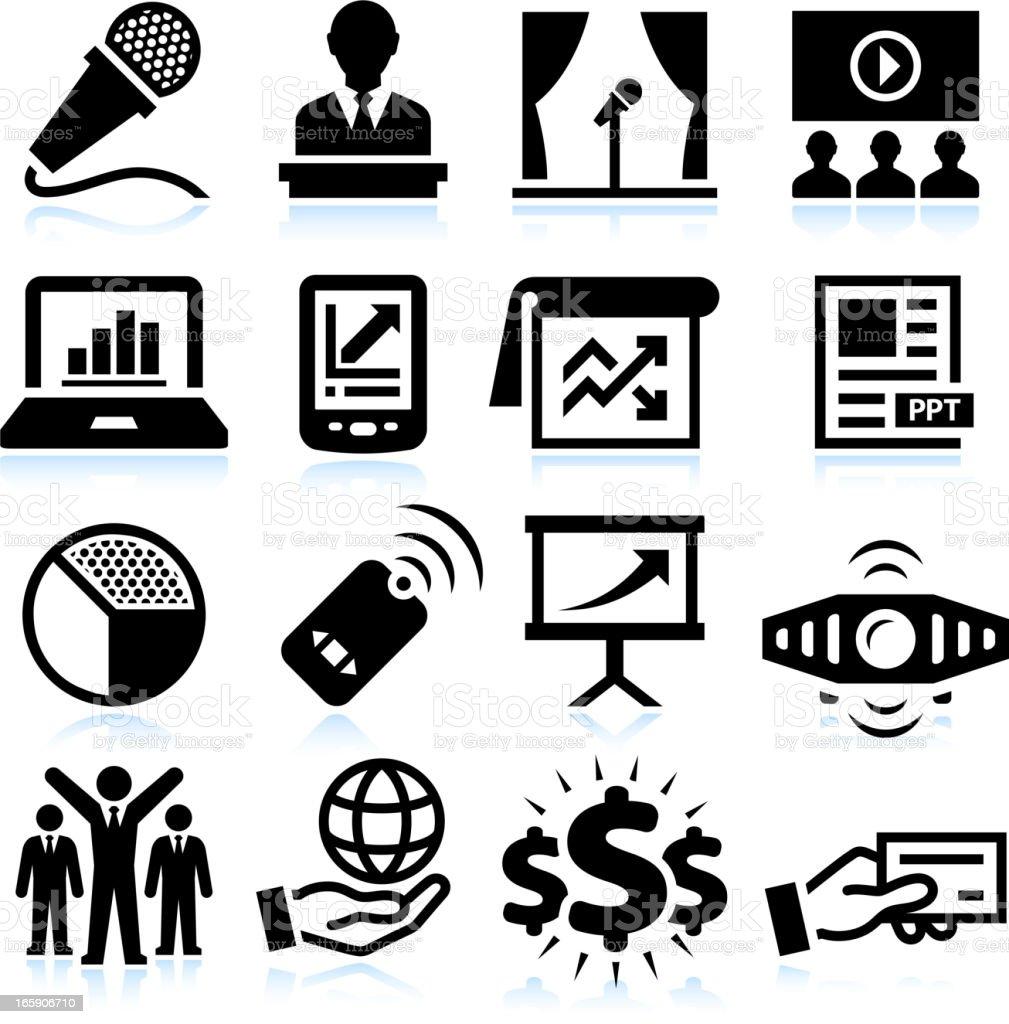 Business Presentation black & white royalty free vector icon set vector art illustration