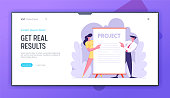 Business Presentation, Businesspeople Stand near Huge Blank Placard or Sign. Office Employees Performing New Project Idea Website Landing Page Set, Web Page. Cartoon Flat Vector Illustration, Banner