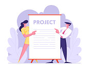 Business Presentation Concept, Male and Female Businesspeople Characters Stand near Huge Blank Placard or Sign. Office Employees Performing Project to Colleagues. Cartoon Flat Vector Illustration