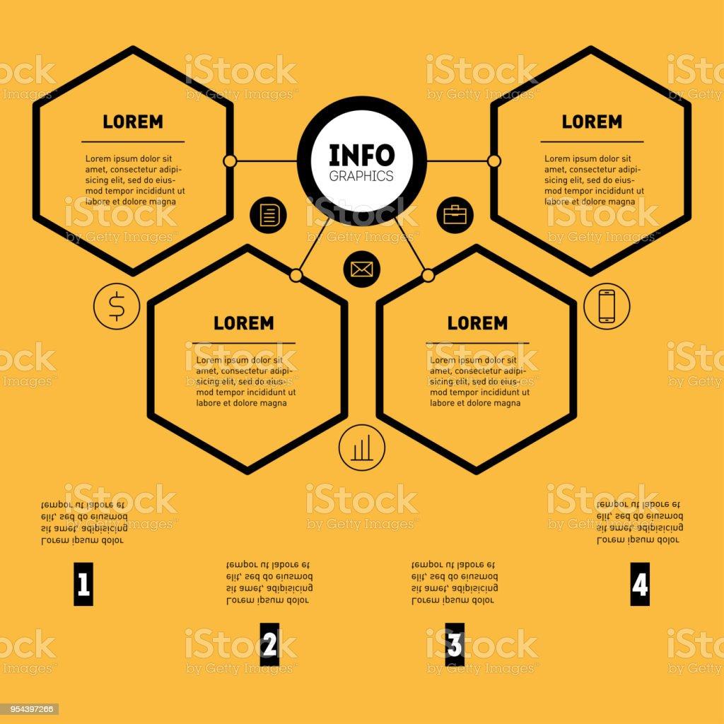 Ilustración de Concepto De Presentación De Negocio Con 4 Opciones ...