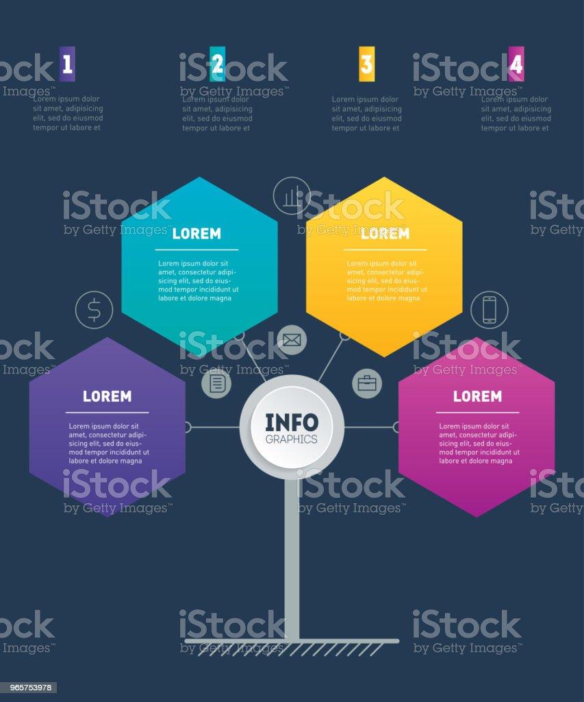 Zakelijke presentatie concept met 4 opties. Websjabloon service tree, info grafiek of diagram. Vector infographic van technologie of onderwijs proces met 4 stappen. - Royalty-free Bedrijfsleven vectorkunst
