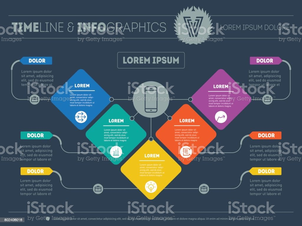 Business presentation concept with 5 options. Web Template of a info chart or diagram. Vector infographic of education or technology process. Part of the report with logo and icons set. vector art illustration