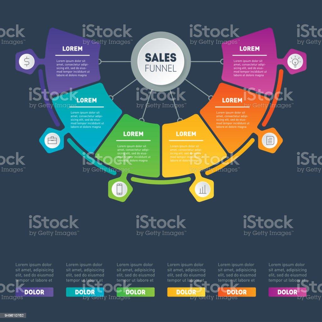 Ilustración de Concepto De Presentación De Negocio Con 6 Opciones ...