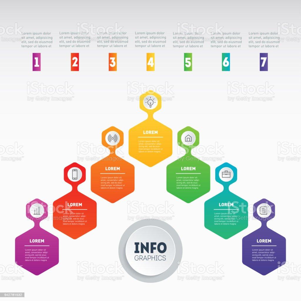 Ilustración de Concepto De Presentación De Negocio Con 7 Opciones ...