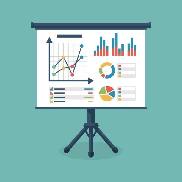business-präsentation-symbol - flipchart stock-grafiken, -clipart, -cartoons und -symbole