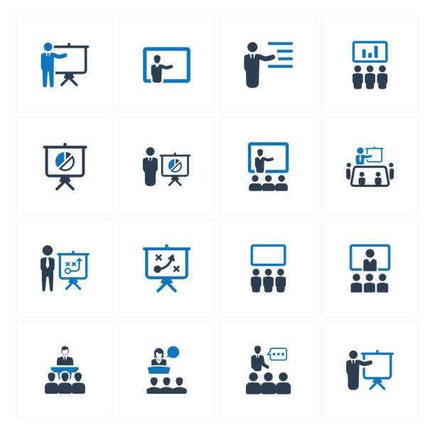 Business Presentation Icons Beautiful, Meticulously Designed Business Presentation Icons training stock illustrations
