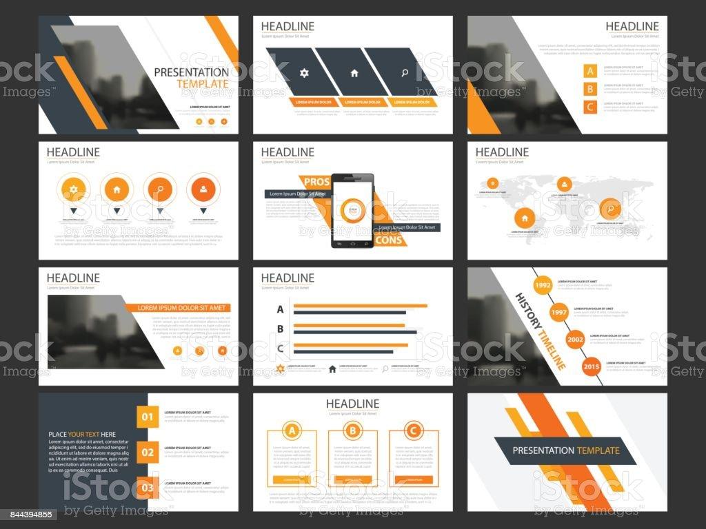 Negócios apresentação infográfico elementos modelo conjunto, relatório anual horizontal corporativo - ilustração de arte em vetor