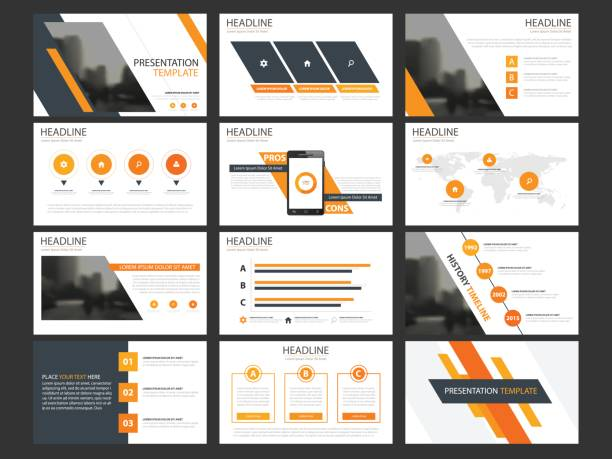 business presentation infographic elements template set, annual report corporate horizontal - infographic templates stock illustrations, clip art, cartoons, & icons