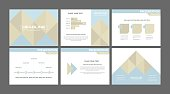 Elegant geometric presentation slides. Pastel colors seminar slides. Business meeting presentation background templates. Cover and pages of finacial report. Modern design financial graphs vectors.