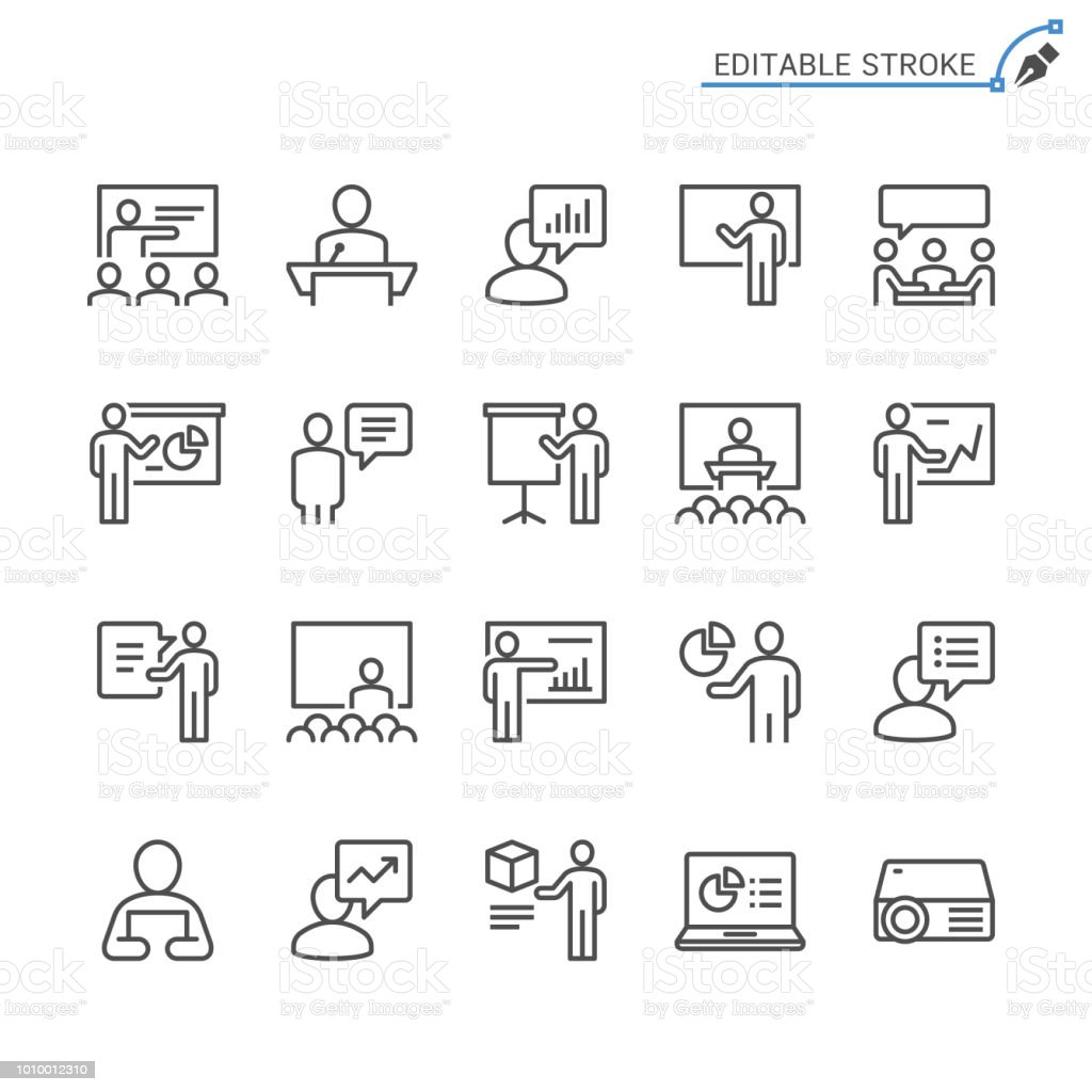 Business presentation line icons. Editable stroke. Pixel perfect. business presentation line icons editable stroke pixel perfect - immagini vettoriali stock e altre immagini di affari royalty-free